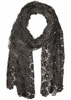 Betsey Johnson Sequin Scallped Edge Crochet Evening Wrap