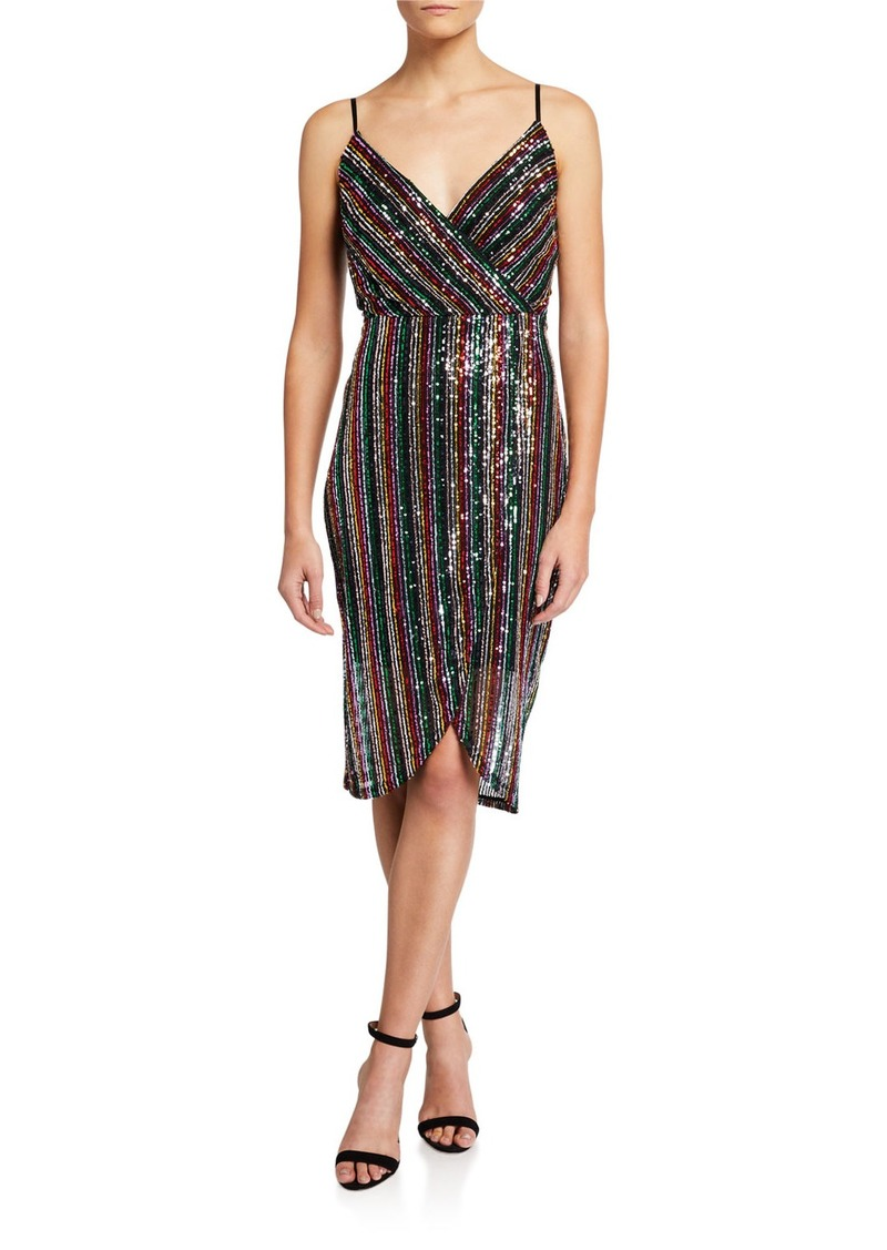 Betsey Johnson Sequin Striped Faux-Wrap Cocktail Dress