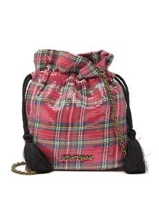 Betsey Johnson Sequins Drawstring Crossbody Bag