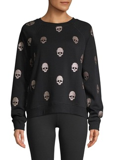 Betsey Johnson Skull-Print Cotton-Blend Sweatshirt