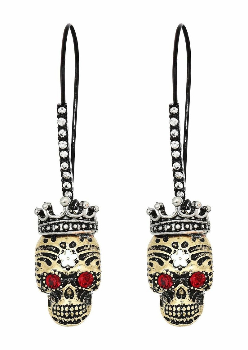 Betsey Johnson Skull Sheppard Hoop Earrings