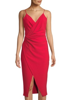 Betsey Johnson Sleeveless Faux-Wrap Cocktail Dress