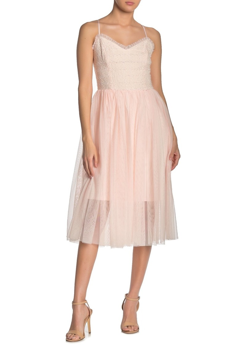 Betsey Johnson Sleeveless Tulle Skirt Tweed Dress