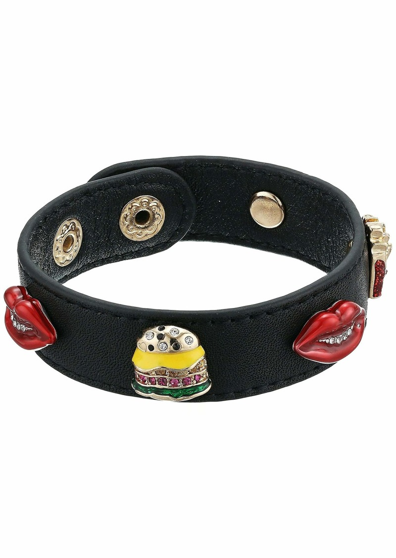 Betsey Johnson Snack Charm Leather Snap Bracelet