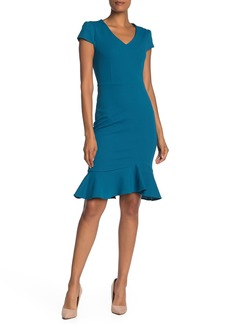 Betsey Johnson Solid V-Neck Flounce Hem Crepe Sheath Dress