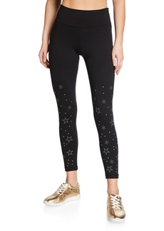 Betsey Johnson Star Studded Embellished High-Rise Leggings