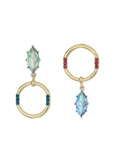 Betsey Johnson Stone and Hoop Non-Matching Earrings
