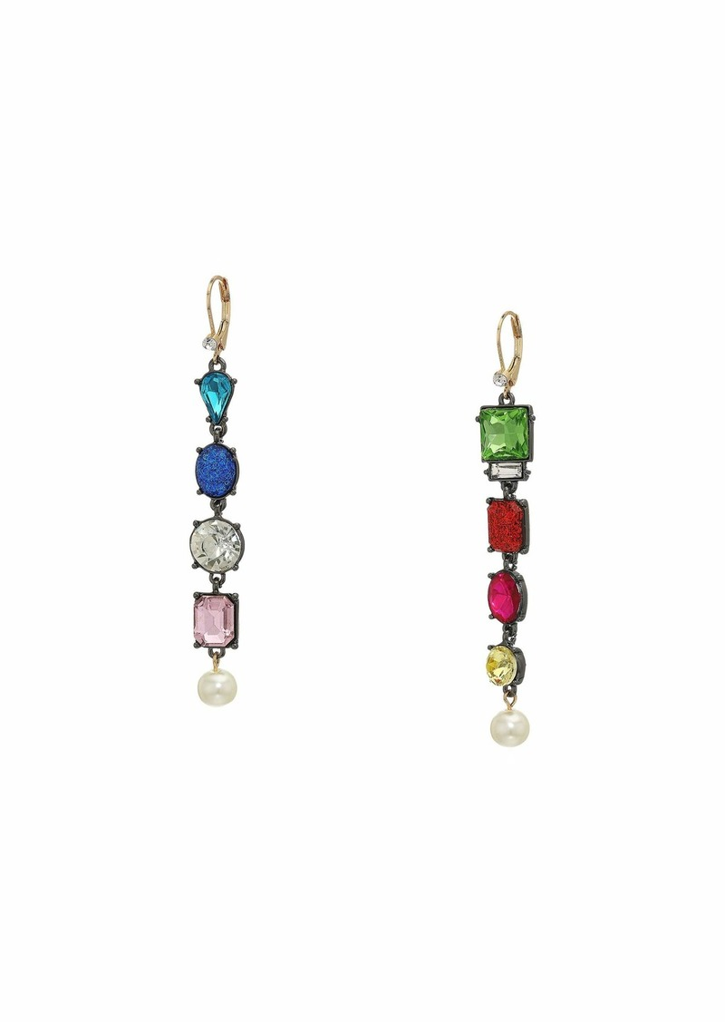 Betsey Johnson Stone Linear Non-Matching Earrings