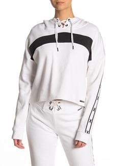 Betsey Johnson Stripe Sleeve Fleece Hoodie