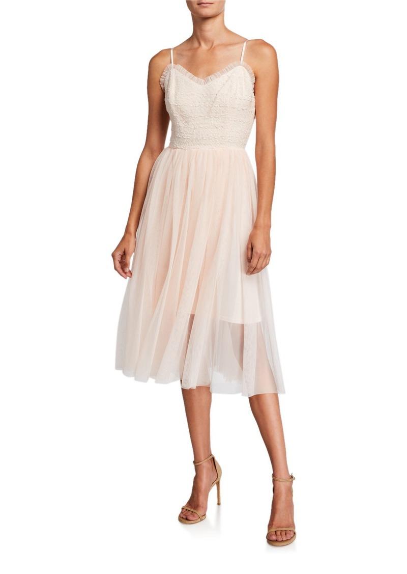 Betsey Johnson Tweed & Tulle Midi Dress