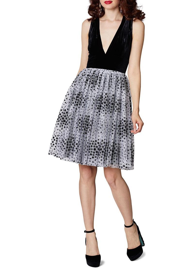 Betsey Johnson Velvet Dot Fit-&-Flare Dress