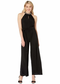 Betsey Johnson Wide Leg Jumpsuit with Pearl Collar