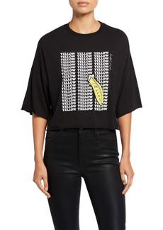 Betsey Johnson Yellow Banana Raw Edge Tee