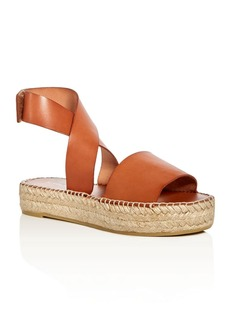 Bettye Muller Seven Leather Ankle Strap Platform Espadrille Sandals
