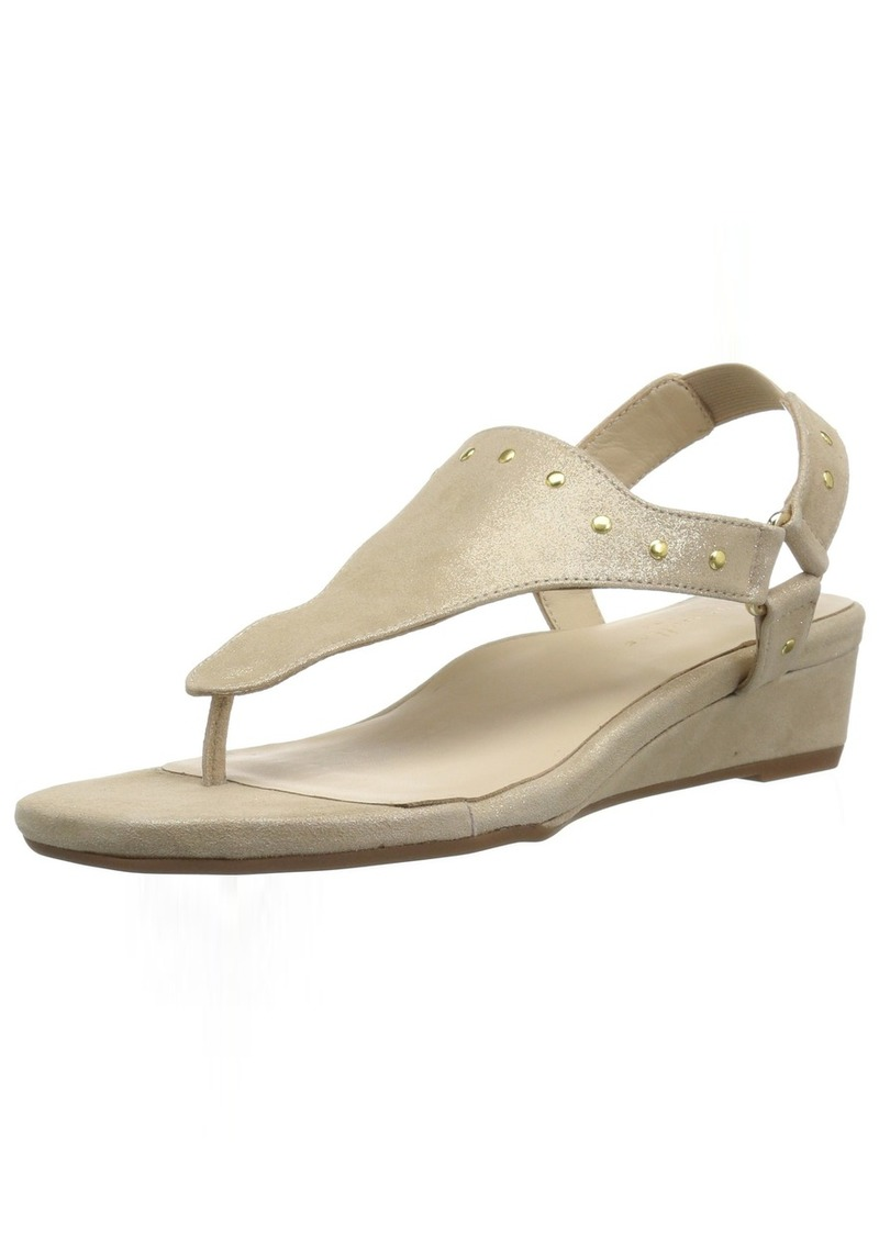 Bettye Muller Women's Kent Wedge Sandal Beige-Gold 9.5 Medium US