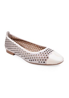 Bettye Muller Janae Perforated Suede & Patent Leather Flats