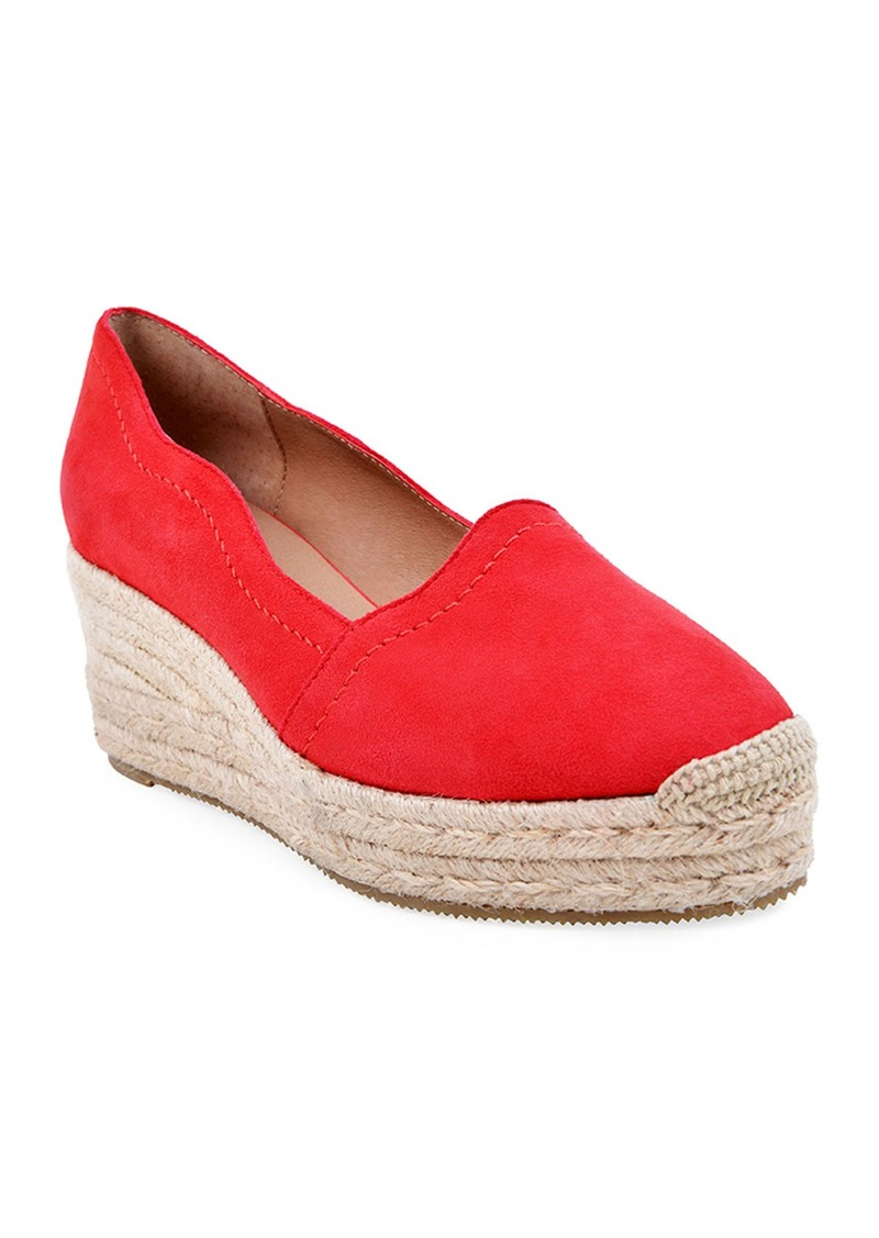 Bettye Muller Reese Scalloped Suede Espadrilles  Red