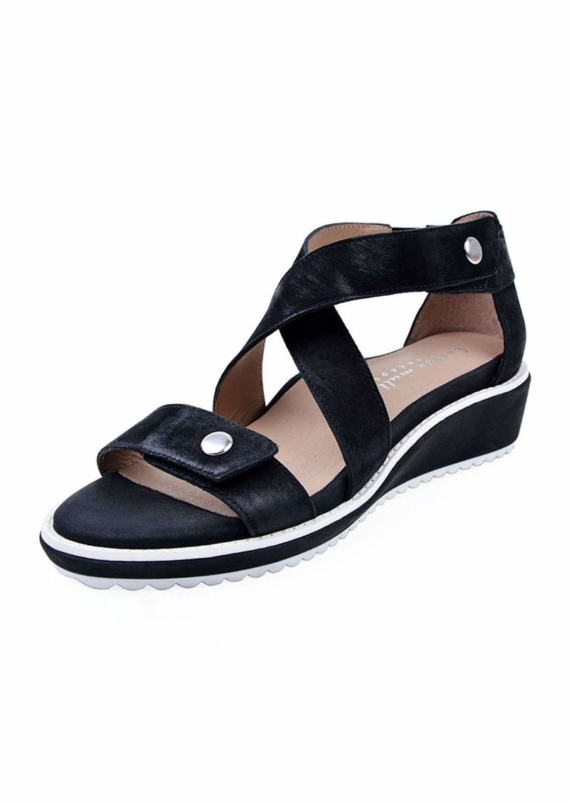 Bettye Muller Tobi Leather Demi-Wedge Sandals  Black