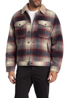 Billabong Barlow Faux Shearling Trim & Lining Plaid Jacket