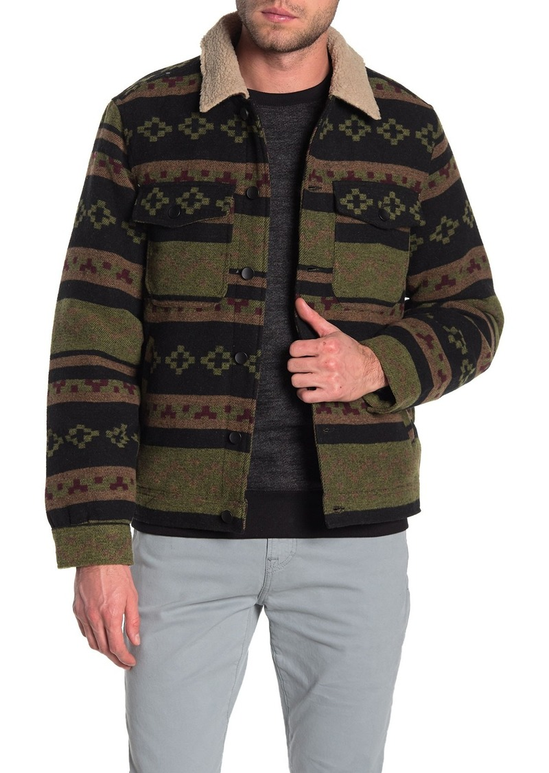 Billabong Barlow Faux Shearling Trim & Lining Plaid Jacket