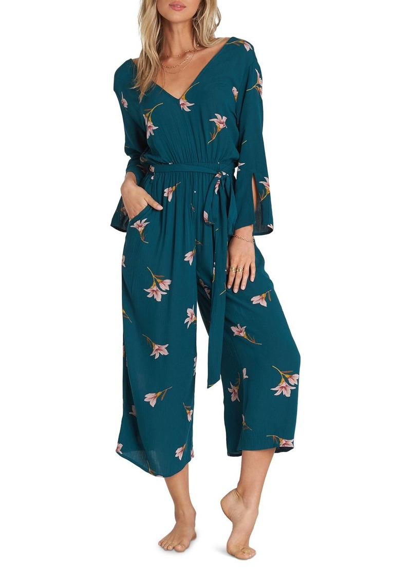 Billabong Crossover-Back Floral Jumpsuit