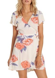Billabong Hold Me Tight Floral Print Wrap Dress