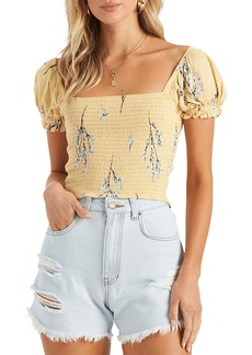 Billabong Honeysuckle Smocked Crop Top