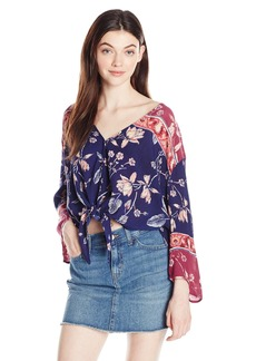 Billabong Junior's Desert Sunrise Printed Crinkle Woven Top  L