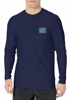 Billabong Men's Classic Loose Fit Long Sleeve Rashguard Surf Tee Shirt Navy Crayon Wave LS XL