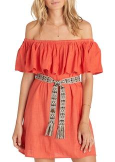 Billabong Mi Bonita Off the Shoulder Ruffle Dress