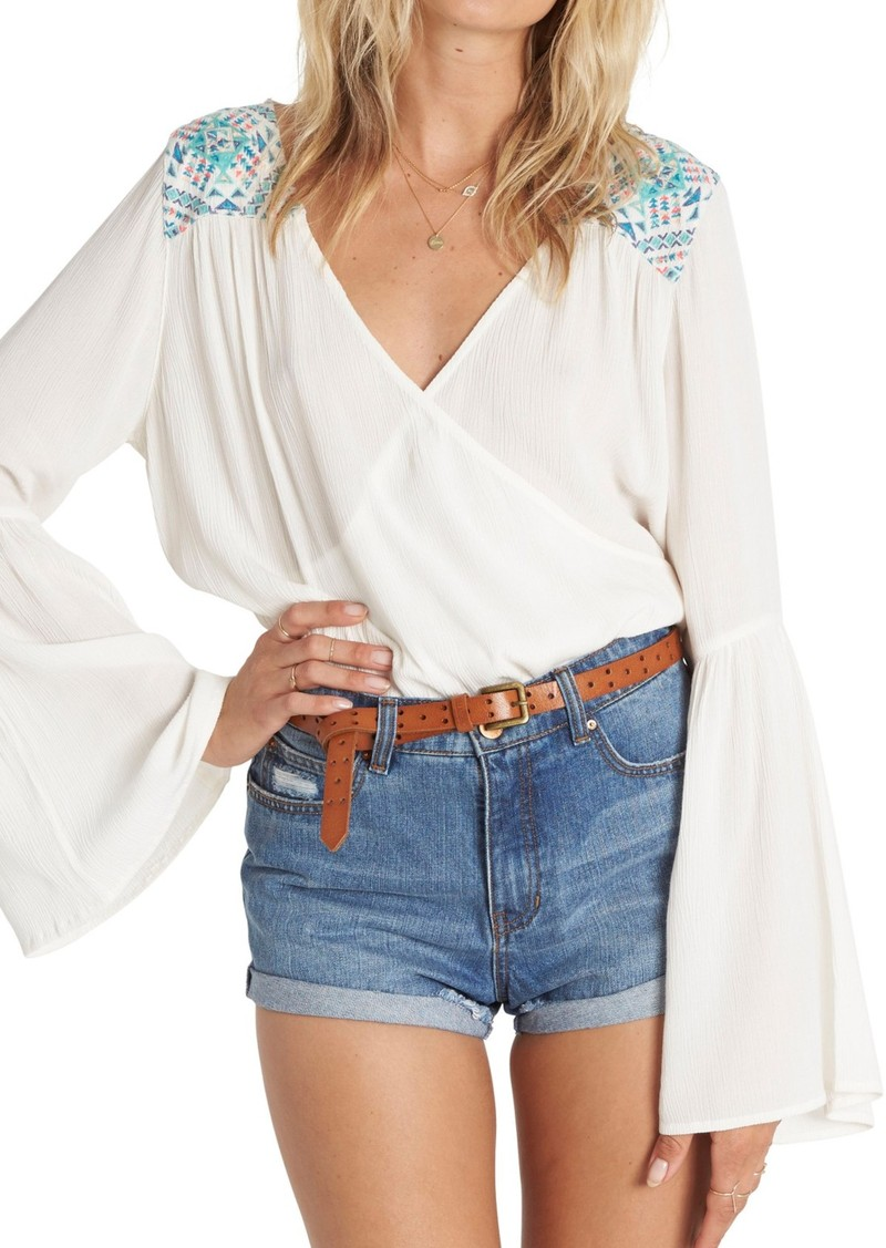 Billabong New Ways Embroidered Bell Sleeve Top