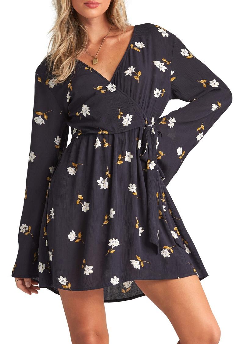 Billabong Side Out Floral Long Sleeve Wrap Dress