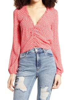Billabong Starry Nights Shirred Long Sleeve Blouse