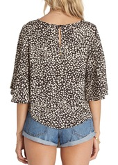 Billabong Wants Kisses Print Flutter Sleeve Top