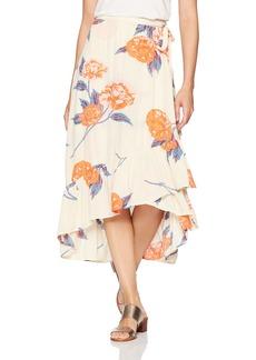 Billabong Women's Dance Til Dawn Printed Midi Wrap Skirt  L