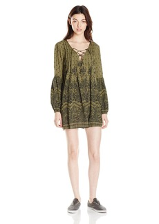 Billabong Women's Just Like You Printed Lace up Dress  S
