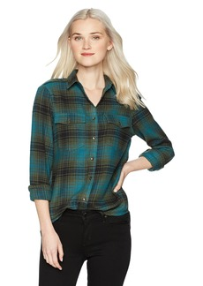 Billabong Women's Venture Out Plaid Top Deep Marine M