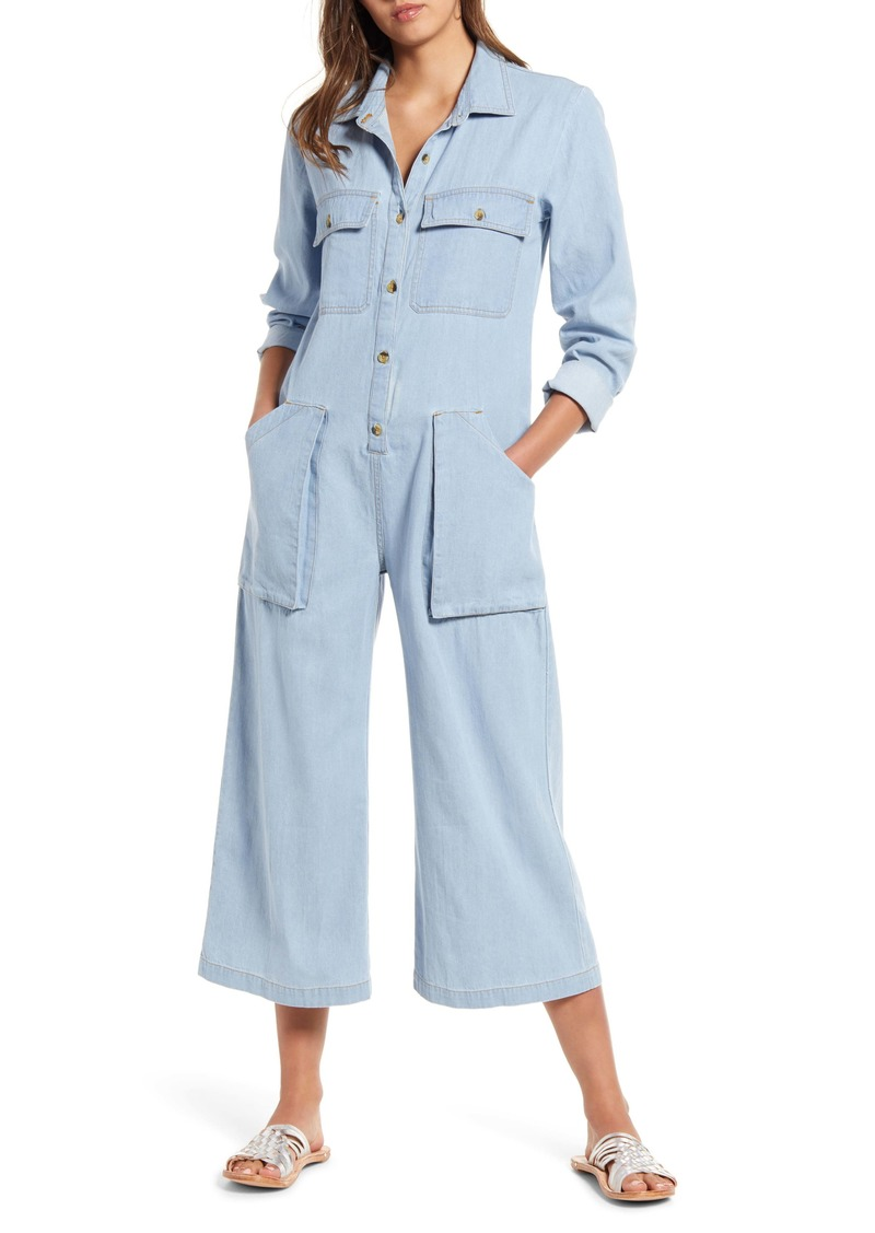 Billabong Work At It Chambray Wide Leg Crop Jumpsuit