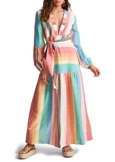 Billabong x Sincerely Jules Mix it Up Stripe Long Sleeve Maxi Dress