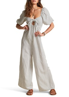 Billabong x Sincerely Jules Shout It Out Geo Print Wide Leg Linen Blend Jumpsuit