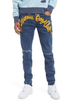 Billionaire Boys Club Men's Orion Ripped Logo Appliqué Straight Leg Jeans