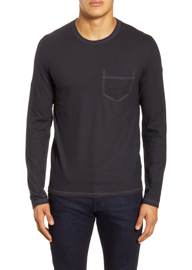 Billy Reid Contrast Stitch Long Sleeve Pocket T-Shirt