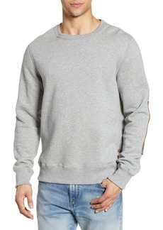 Billy Reid Dover Crewneck Sweatshirt with Leather Elbow Patches