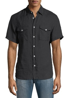 Billy Reid Graham Pocket Short-Sleeve Sport Shirt