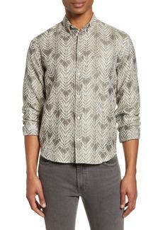 Billy Reid Kirby Slim Fit Leaf Jacquard Button-Down Shirt