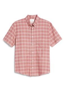 Billy Reid Kirby Slim Fit Plaid Short Sleeve Button-Down Shirt