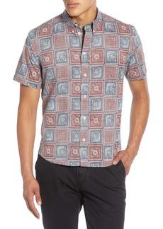 Billy Reid Kirby Slim Fit Savannah Tile Short Sleeve Button-Down Sport Shirt
