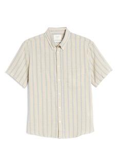 Billy Reid Kirby Slim Fit Stripe Short Sleeve Button-Down Shirt