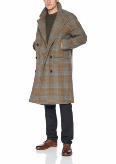 Billy Reid Men's Cashmere Double Breasted Thomas Overcoat with Leather Detail  M