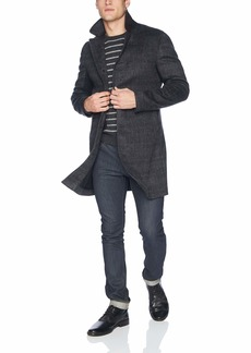 Billy Reid Men's Cashmere Single Breasted Walking Coat with Leather Details  L